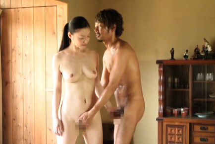 Japanese av model. Japanese AV Model with hot tits rubs cock