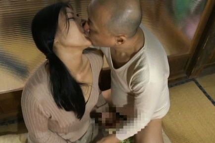 Japanese av model. Japanese AV Model is touched under skirt while is kissed by man