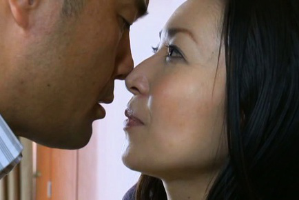Japanese av model. Japanese AV Model is kissed before doggy have