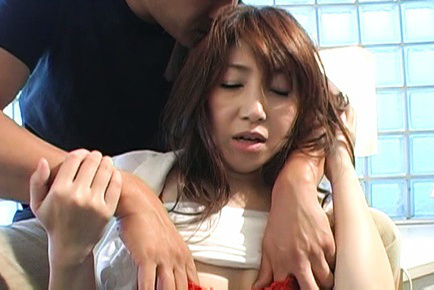 Japanese av model. Japanese AV Model has tits touched over bra and sucked by hunk
