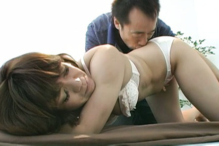 Japanese av model. Japanese AV Model is kissed all over body and has jugs fondled