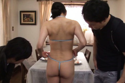 Miki sato. Miki Sato Asian undresses and shows booty in string to two guys