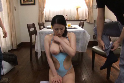 Miki sato. Miki Sato Asian has huge jugs sucked and cunt rubbed by two dudes
