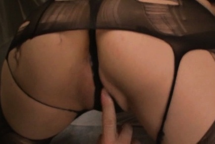 Hitomi oohashi. Hitomi Oohashi Asian has twat fingered trough hole in stockings