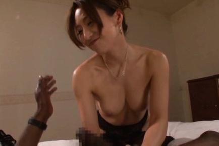 Japanese av model. Japanese AV Model in stockings has hairy cunt rubbed and licked