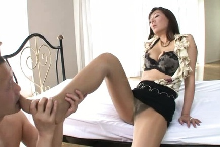 Noriko igarashi. Noriko Igarashi Asian in short skirt has feet