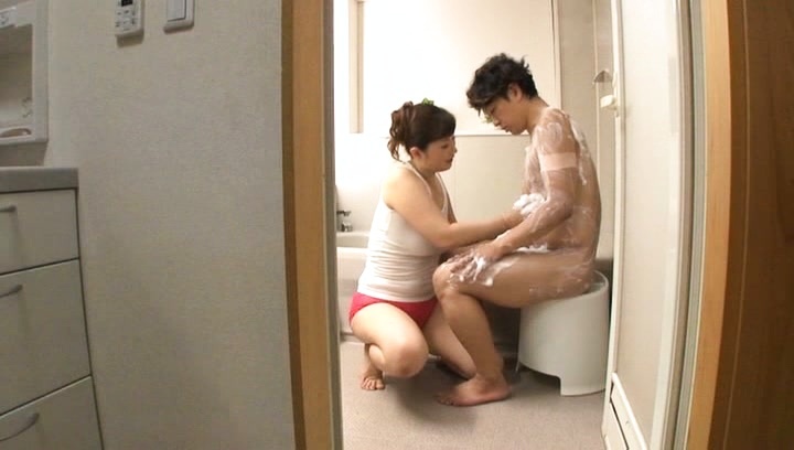 Reiko shimura. Reiko Shimura Asian with voluminous behind covers man in soap foam