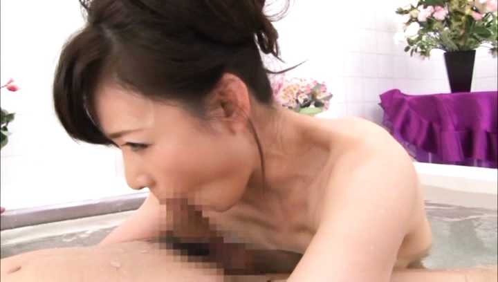 Eriko miura. Eriko Miura Asian rubs penish with tits and sucks it in water