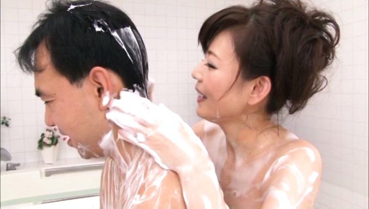 Eriko miura. Eriko Miura Asian has leering body fondled with soap foam by man