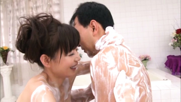 Eriko miura. Eriko Miura Asian has leering body fondled with soap foam by man